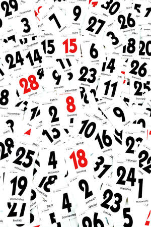 end month: The torn-off days of a calendar. Past year-end. Stock Photo