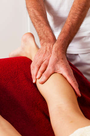 manual: Relaxation, peace and well-being through massage. Lymphatic drainage Stock Photo