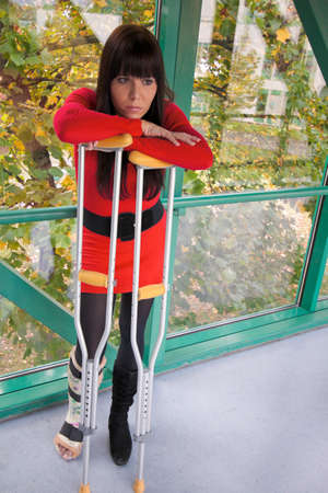 Young woman with a leg cast and crutches in hospital Stock Photo - 9199689