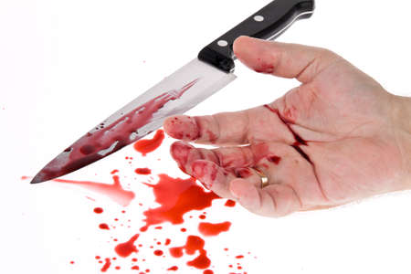 A knife smeared with blood. A murder weapon. Representative photo crime Stock Photo - 9199906