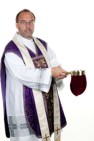 chaplain: A Catholic priest at the gathering in front of a white background