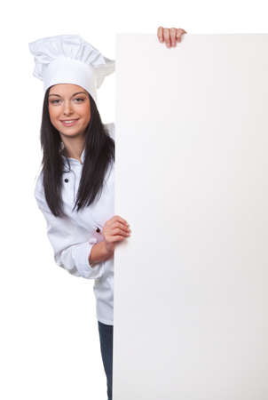 young chef with an empty white board Stock Photo - 9259922