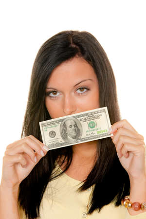 Young woman with dollar bills. U.S. Currency Stock Photo - 9260217