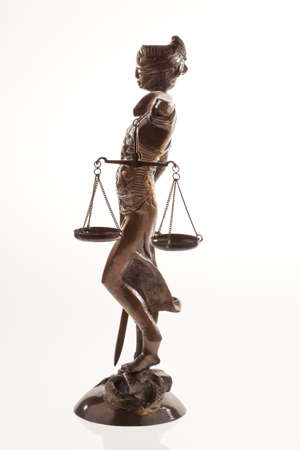 legislators: Justice with scales. Symbol of justice begore a white background Stock Photo