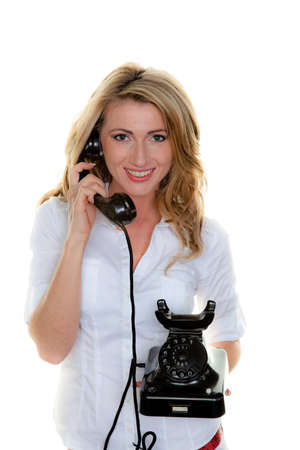 Young woman on the phone a customer service hotline Stock Photo - 9413710
