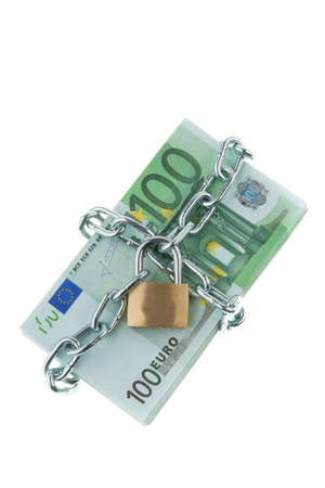 Euro bank notes with a lock and chain. Money stack for safety and investment. Stock Photo