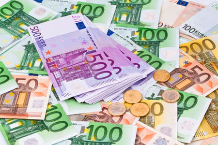 banknotes: Many Euro banknotes of the European Union next to each other.