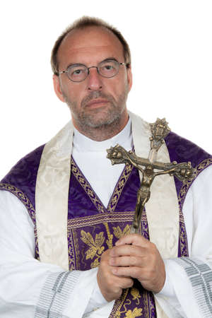 A Catholic priest with a cross on a white background photo