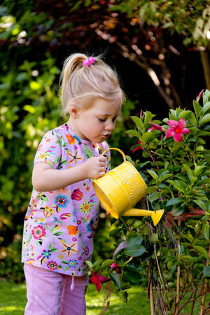 Small child with a watering can when watering the flowers photo