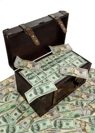 dollar bills: A large chest with dollar bills. Financial crisis, crisis, debt. Stock Photo
