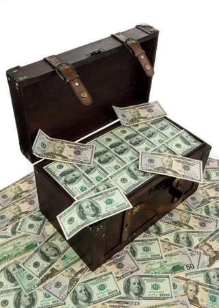 dollar bills: Una grande cassa con il dollaro. Finanziaria crisi, crisi, debito.