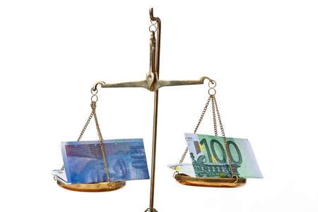 frank szwajcarski: Frank euro i Szwajcarii w równowadze Zdjęcie Seryjne