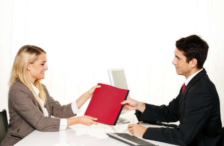 Application and performance. Interview with hiring manager in the office Stock Photo - 9488583