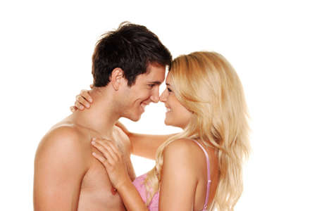 Couple has fun and joy. Love, eroticism and tenderness in everyday life. photo
