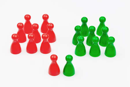 coalition: Red and green characters. Coalition government between red and green. Stock Photo