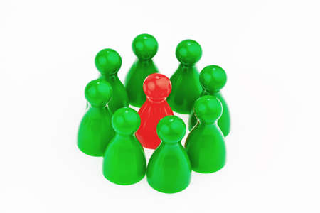 benchmarking: Red and green characters. Unlike in the team. Quota for women in the workplace.