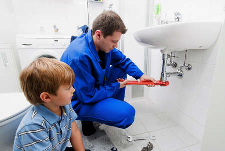 A plumbing repair a broken sink in bathroom Stock Photo - 9550579