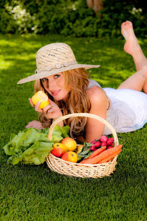 Fruit and vegetables in the basket with his wife photo