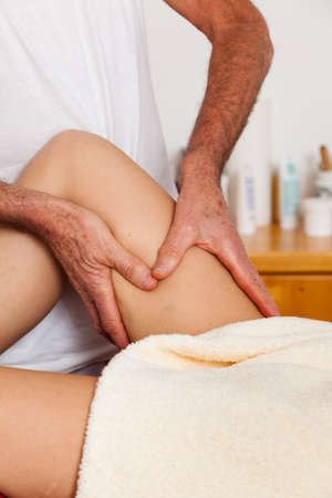 lymphatic drainage: Relaxation, peace and well-being through massage. Lymphatic drainage Stock Photo
