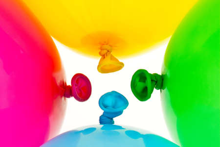 Various colorful balloons. Symbol of lightness, freedom, celebration Stock Photo