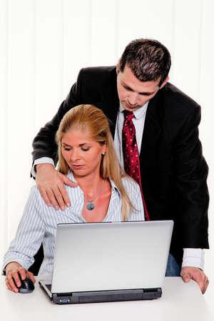 Harcèlement sexuel des femmes au travail au Bureau Banque d'images
