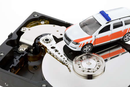 secure backup: Data recovery after computer crash. Recovery disk Stock Photo