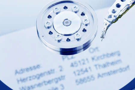 The hard disk of a computer with address data from the customer Stock Photo - 9594776