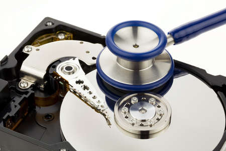 hard drive crash: Data recovery after computer crash. Recovery disk Stock Photo
