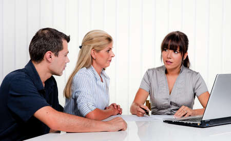 marriage counseling: Husband and wife in a consultation in an office