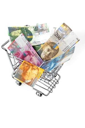 frank szwajcarski: Frank szwajcarski pieniędzy BOM w Koszu Zdjęcie Seryjne