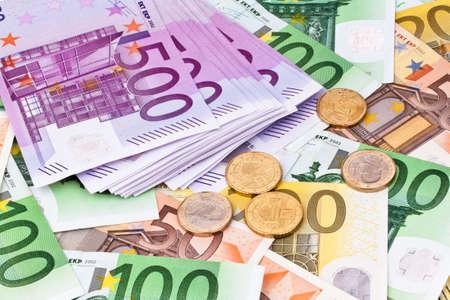 euro banknotes: Many Euro banknotes of the European Union. Stock Photo