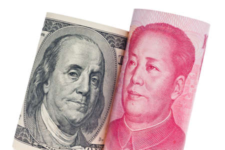 parity: Chinese currency yuan and U.S. dollars amerkinaische bills