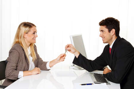 marriage counseling: Consultation. Consultation and discussion with consultants and customers. Stock Photo