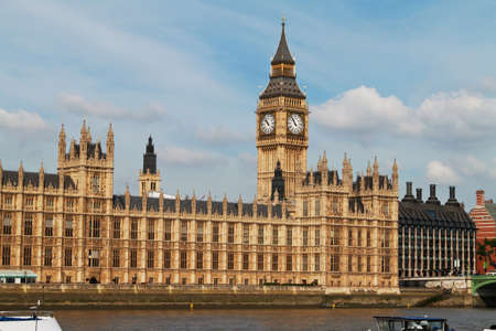 The Parliament in London with the Big Ben clock tower photo