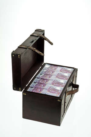 batch of euro: A large chest with Euro banknotes. Financial crisis, crisis, debt.