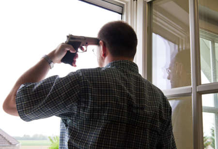 neurosis: Man makes suicide by shooting with a pistol