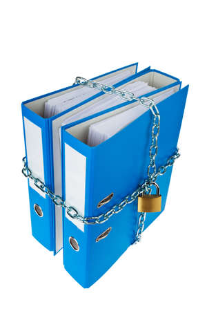 A file folder with chain and padlock closed. Privacy and data security. Stock Photo - 9637808