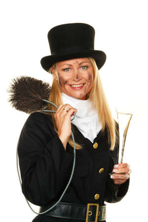 new beginning: Woman as a chimney sweep. Lucky New Years Eve and New Year.