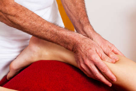 lymphatic drainage therapy: Relaxation, peace and well-being through massage. Lymphatic drainage Stock Photo