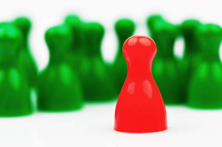 Red and green characters. Manager and leader of the team. Stock Photo - 9751577
