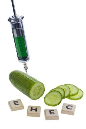 A cucumber as a symbol of EHEC disease Stock Photo - 9751562