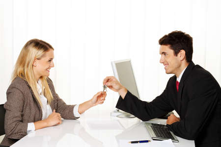 sales bank: Consultation. Consultation and discussion with consultants and customers. Stock Photo