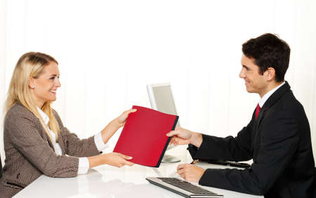Application and performance. Interview with hiring manager in the office Stock Photo - 9751548