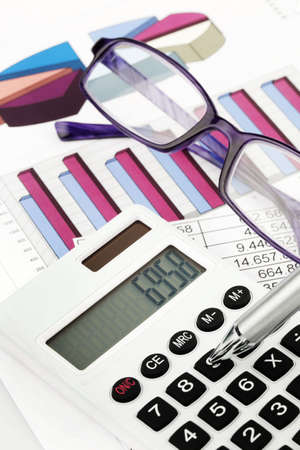 auditors: A calculator and various statistics in the calculation of balance sheet, revenue and profit.