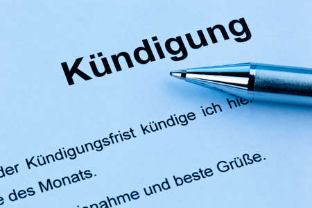 termination: A termination for the workplace or subscription in German