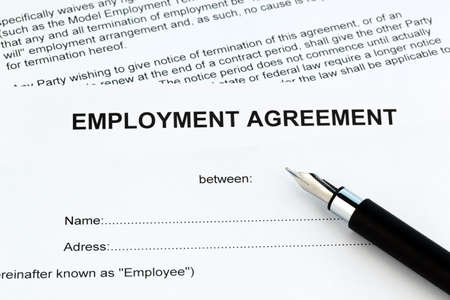 The employment of an employee with the employer. (In English) Stock Photo - 9837871