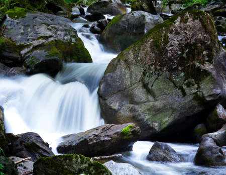 smoother: A cool stream of water and rocks in the mountains. Unspoiled nature.
