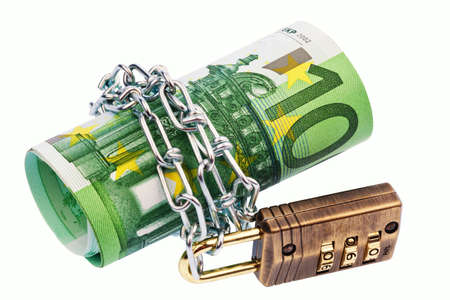 Euro notes with lock and chain on white background Stock Photo - 9979707