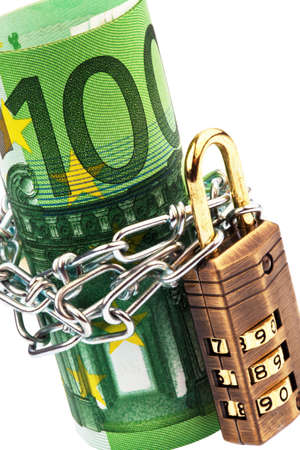 Euro notes with lock and chain on white background Stock Photo - 9979752