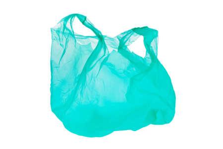 separacion de basura: Un pl�stico de la bolsa de compras verdes. Aislado sobre fondo blanco, y puesto en libertad Foto de archivo